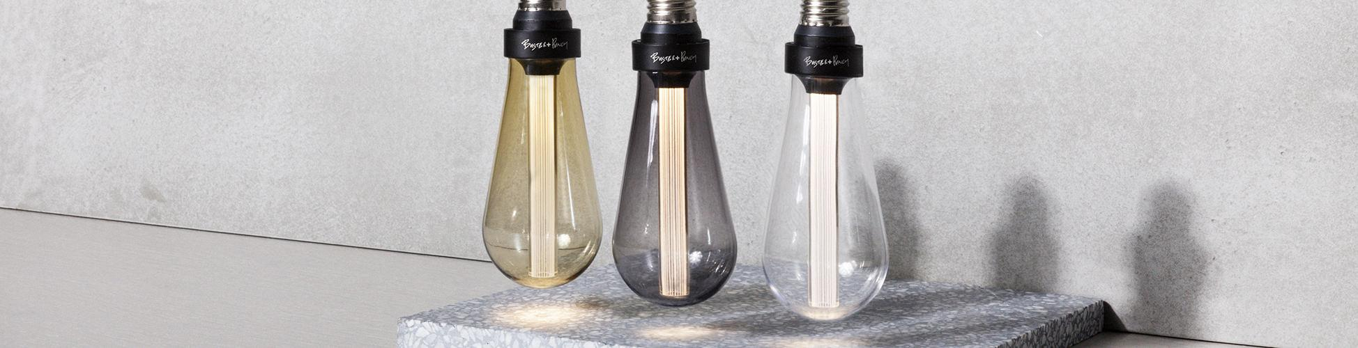 light bulb, led, bulb, buster, punch, glass, smoked, gold, crystal, teardrop, tube