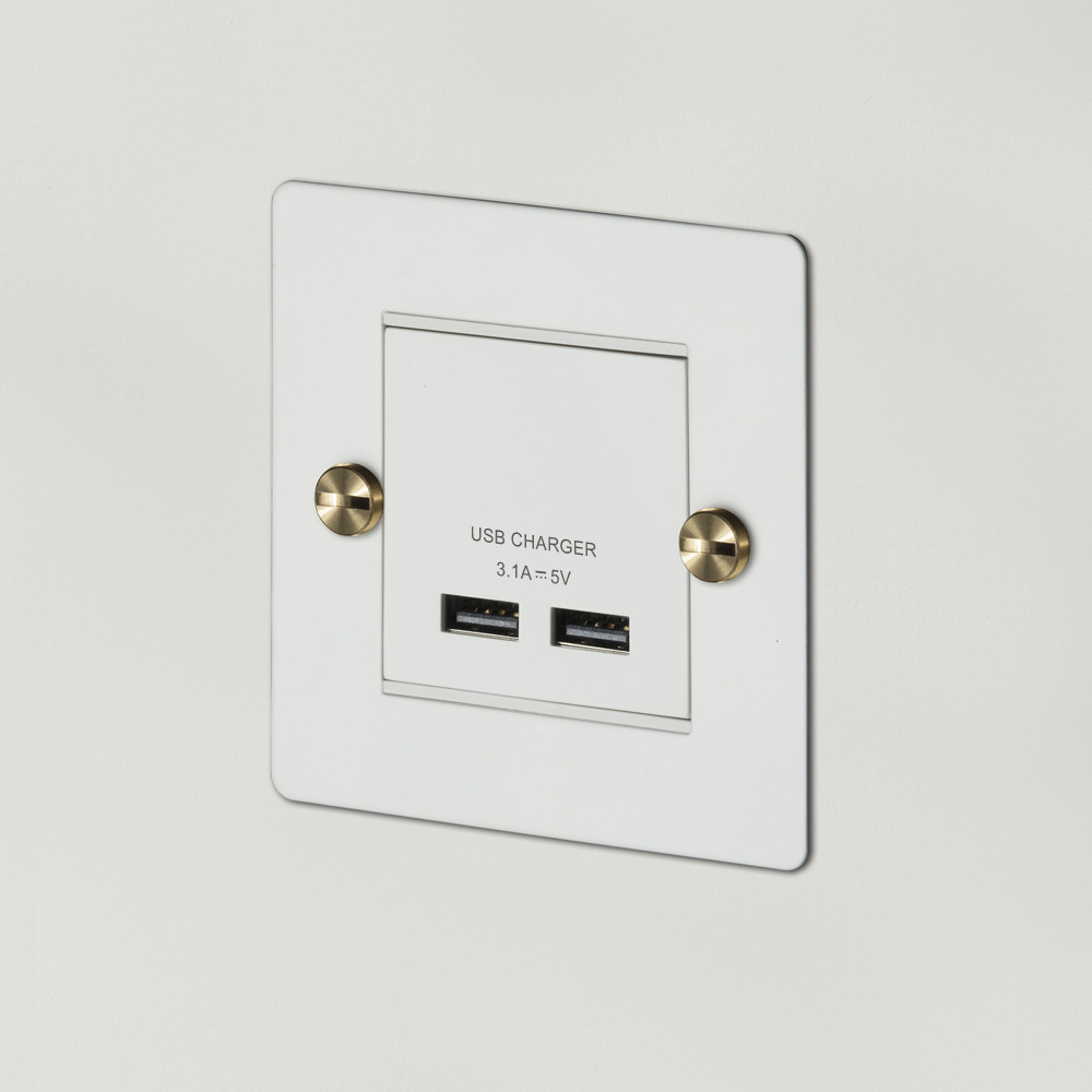 1G USB CHARGER / WHITE / BRASS