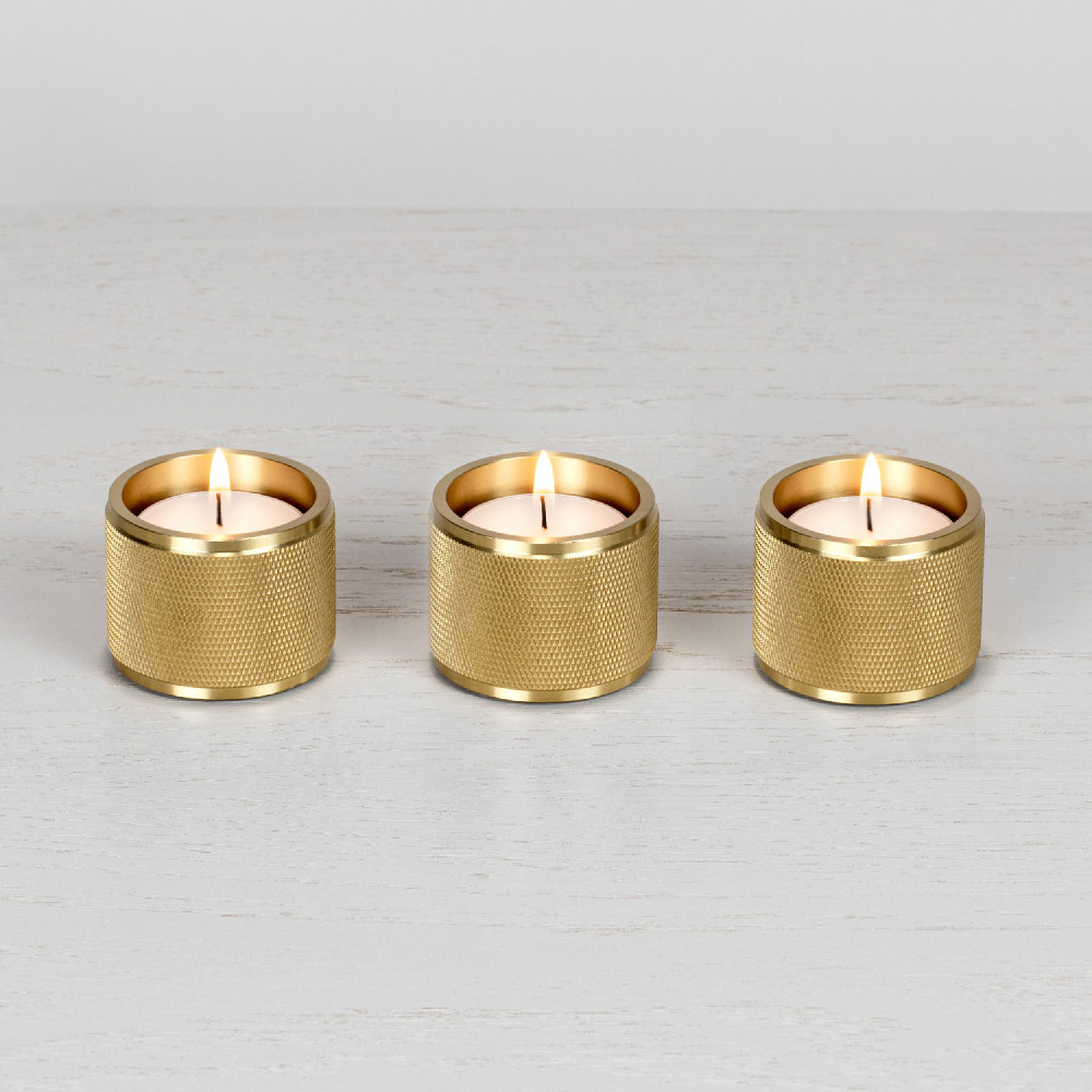 TEALIGHT CANDLE HOLDER / BRASS / SET OF 3