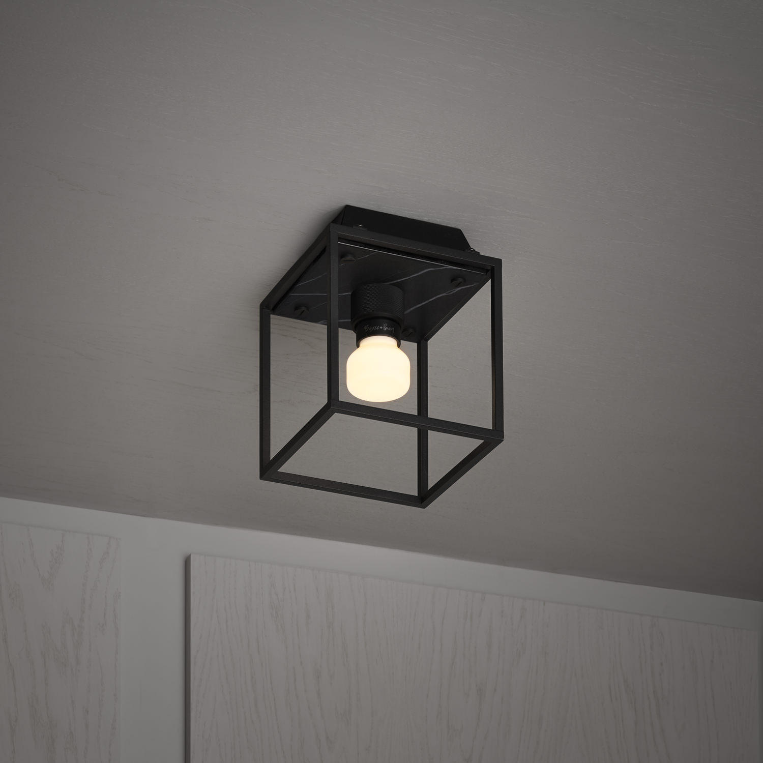 Black Candle Ceiling Lights : Caged ceiling s satin black marble surface