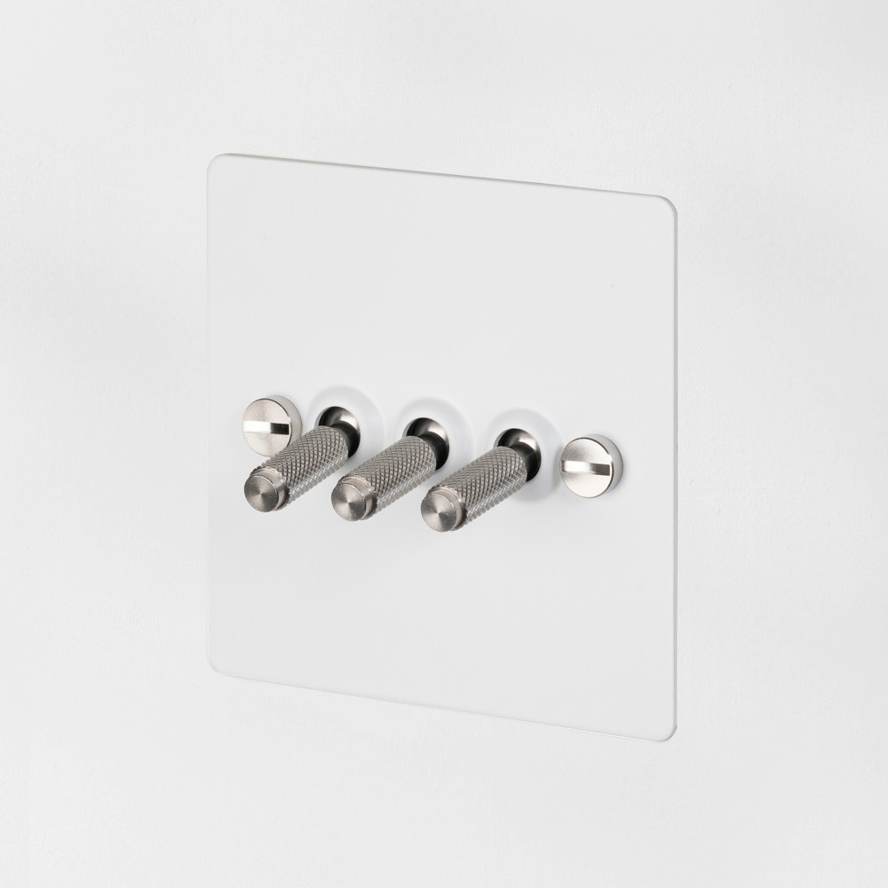 3G TOGGLE SWITCH / WHITE / STEEL