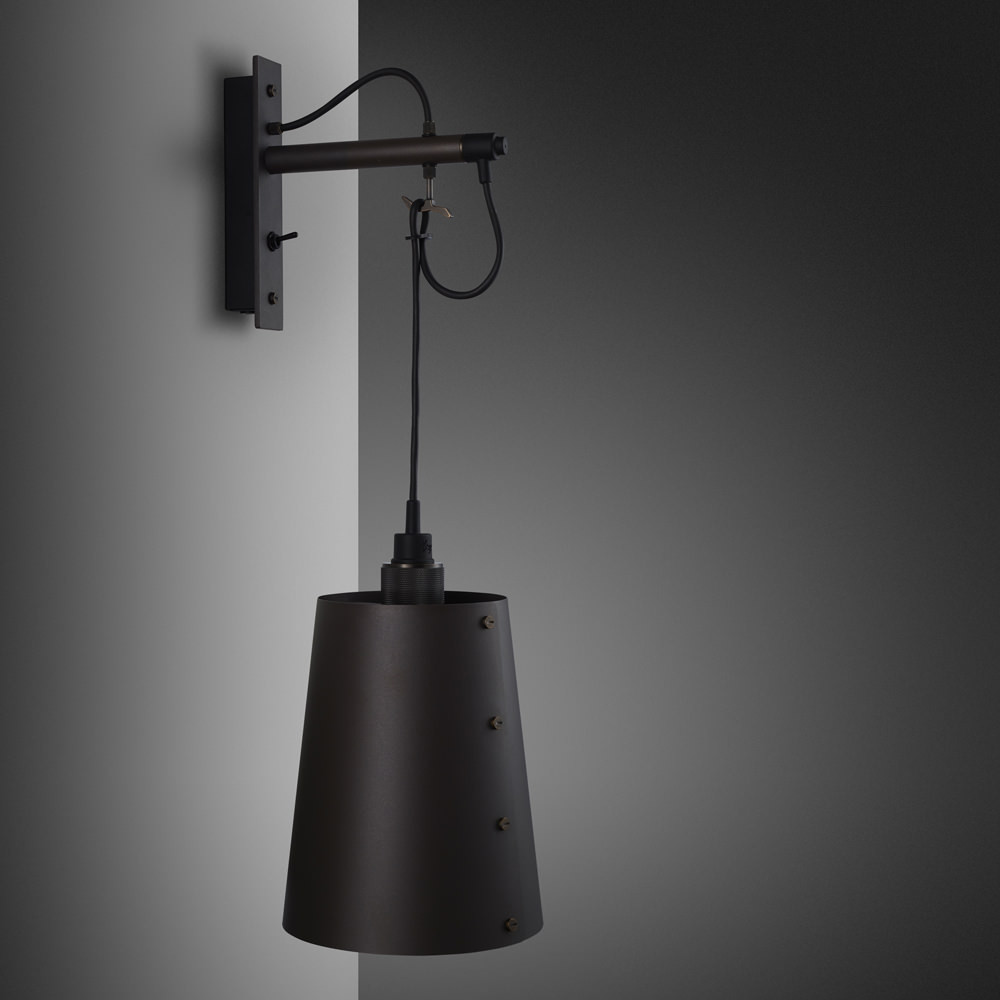 Hooked wall light pendant in solid metal / dark graphite grey and smoked bronze
