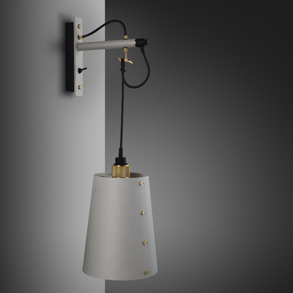 Buster + Punch / Hooked wall light pendant in solid metal / light stone grey and brass