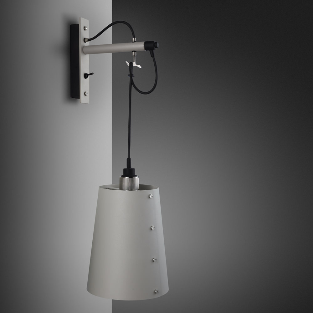 Buster + Punch / Hooked wall light pendant in solid metal / light stone grey and stainless steel