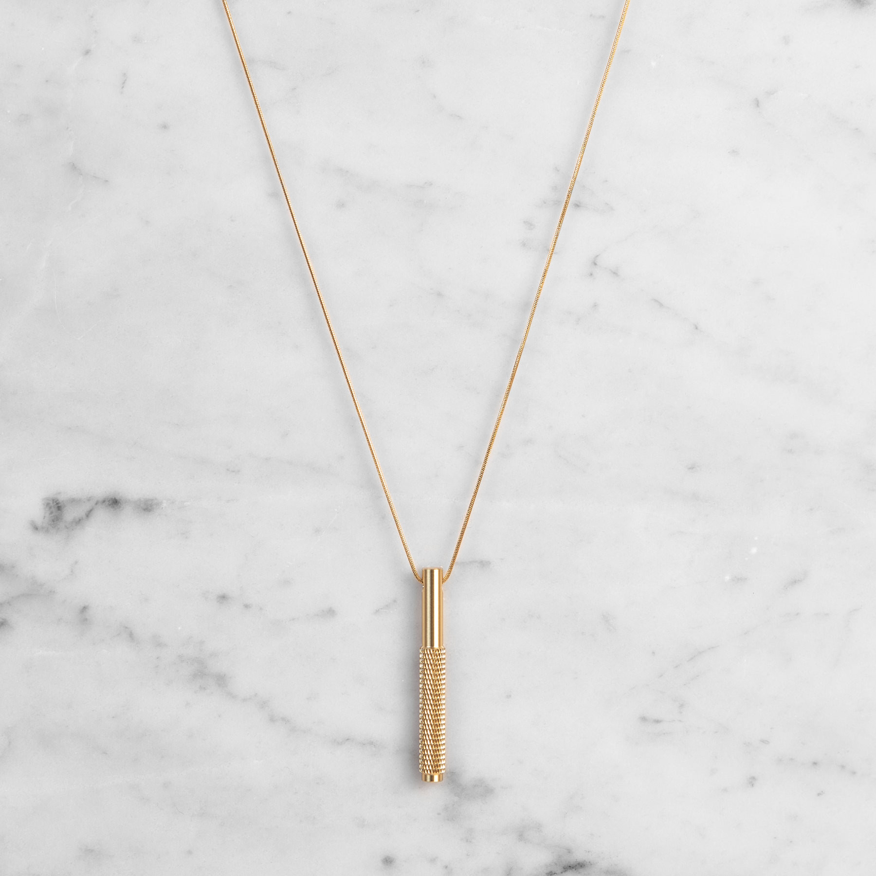 Buster + Punch / Vertical Necklace / Solid brass with knurled detailing
