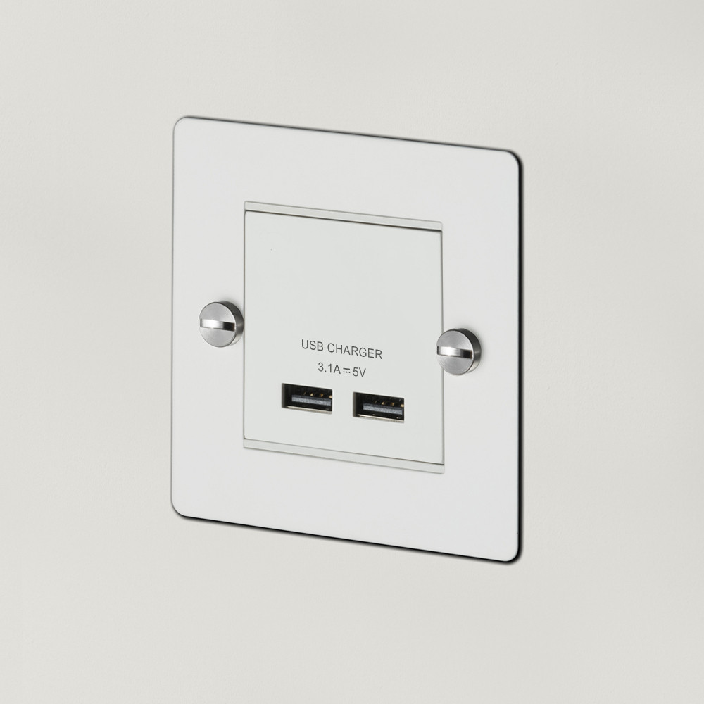 1G USB CHARGER / WHITE / STEEL