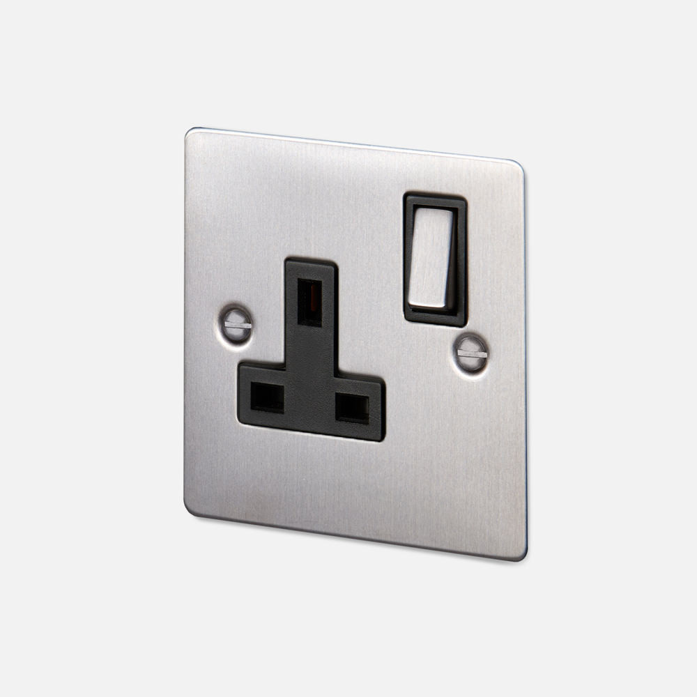 1G UK PLUG SOCKET / STEEL