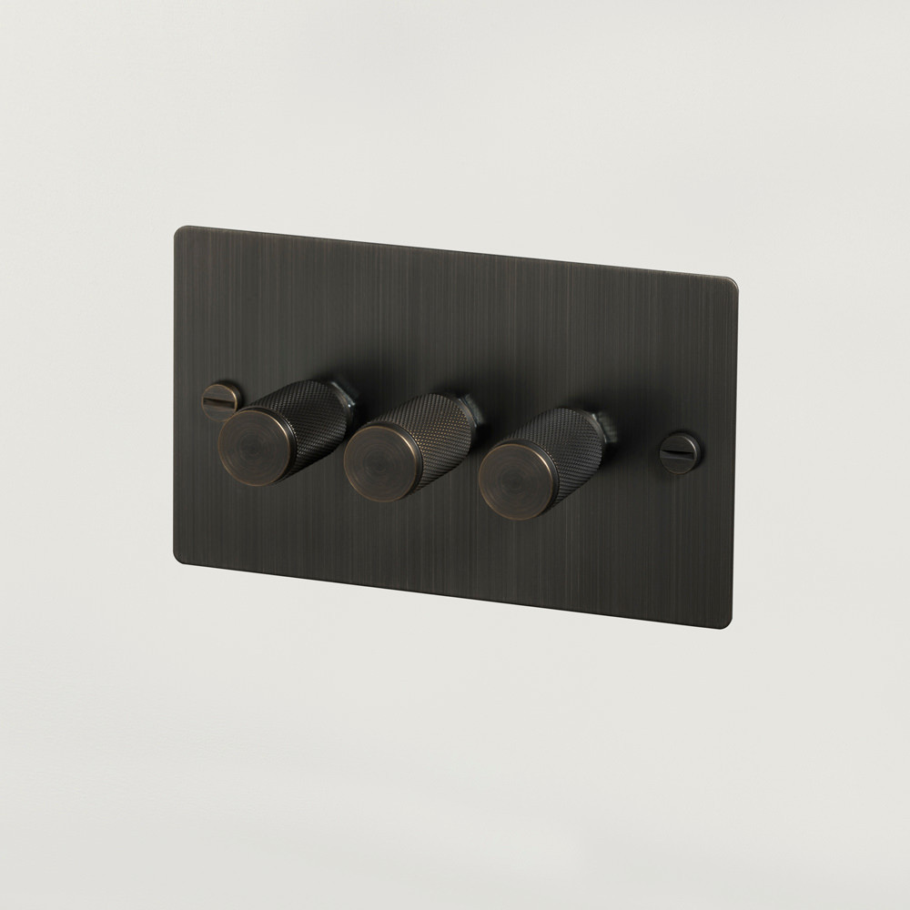 Buster + Punch / 3G rotary punch on off dimmer switch in solid metal smoked bronze / design light switches
