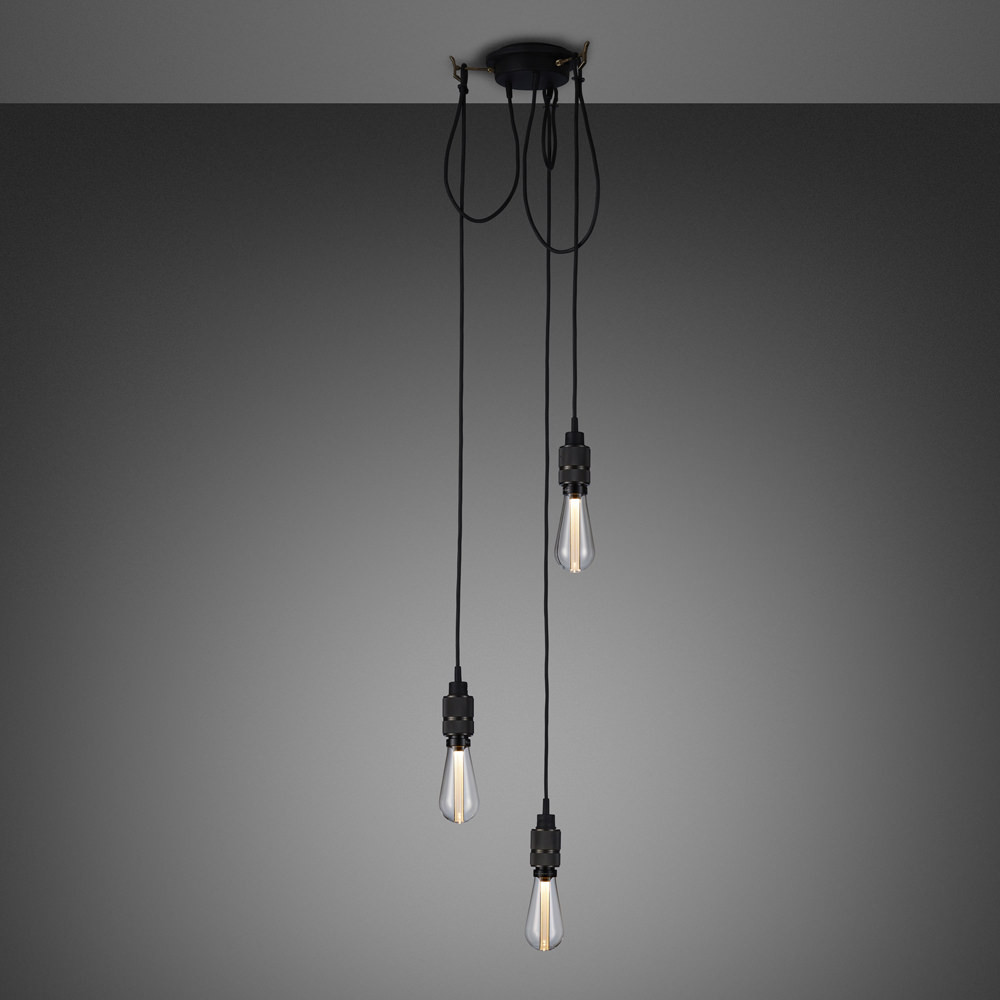 Buster + punch / Chandelier with three pendants / made from solid smoked bronze metal