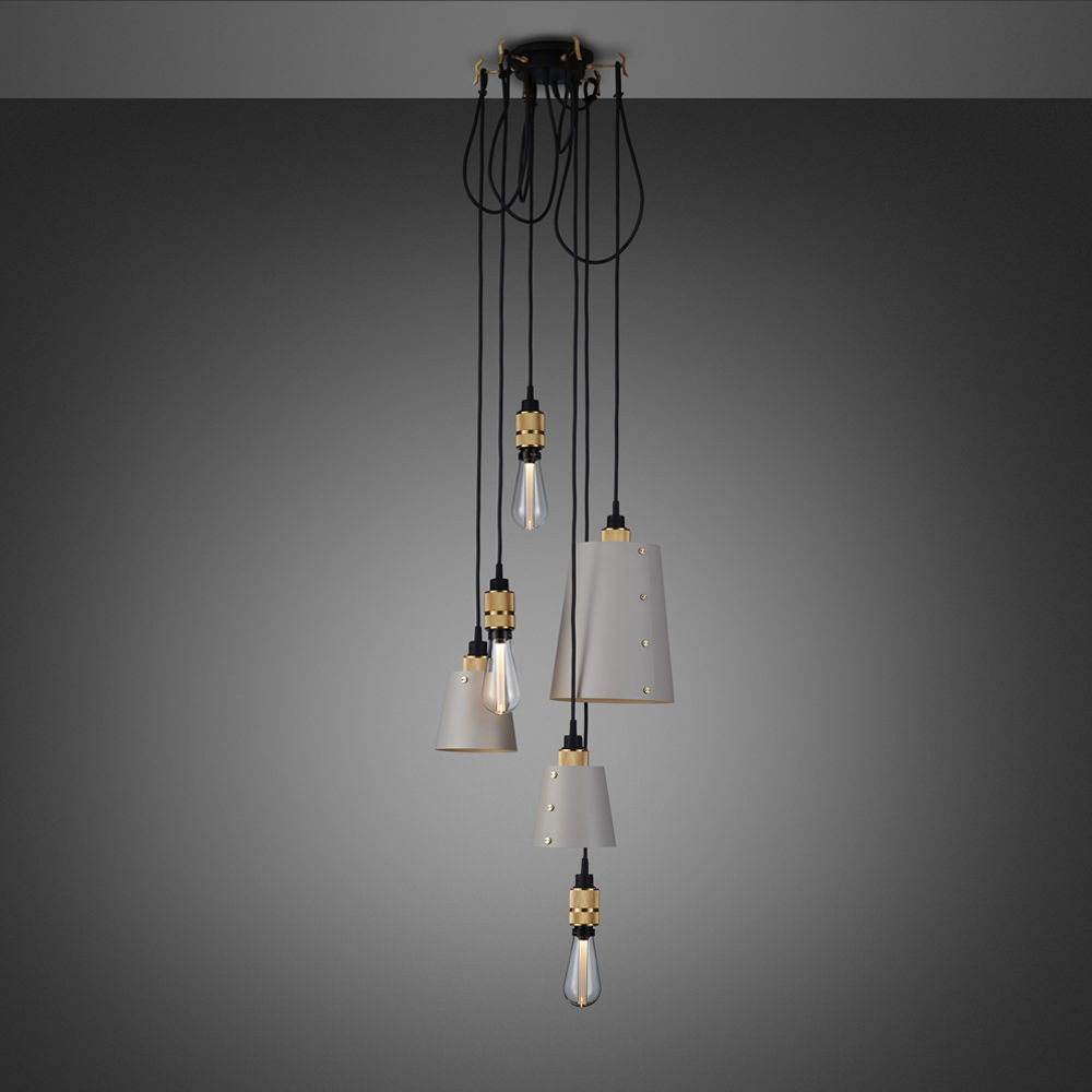 Buster + Punch / Chandelier with six light pendants in solid metal / large and small lamp shades / stone grey and brass