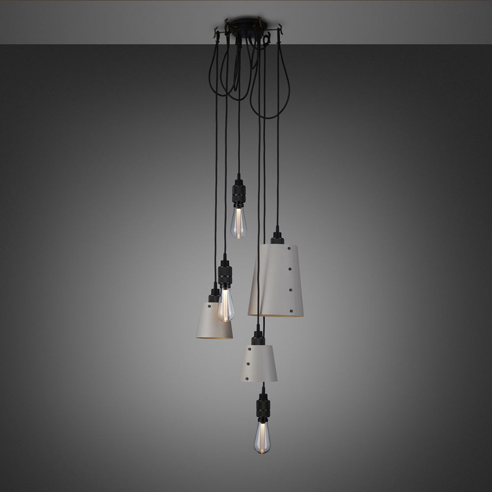 Buster + Punch / Chandelier with six light pendants in solid metal / large and small lamp shades / stone grey and smoked bronze