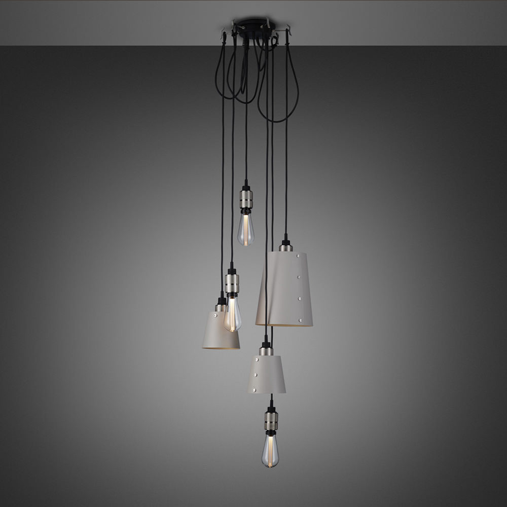 Buster + Punch / Chandelier with six light pendants in solid metal / large and small lamp shades / stone grey and stainless steel