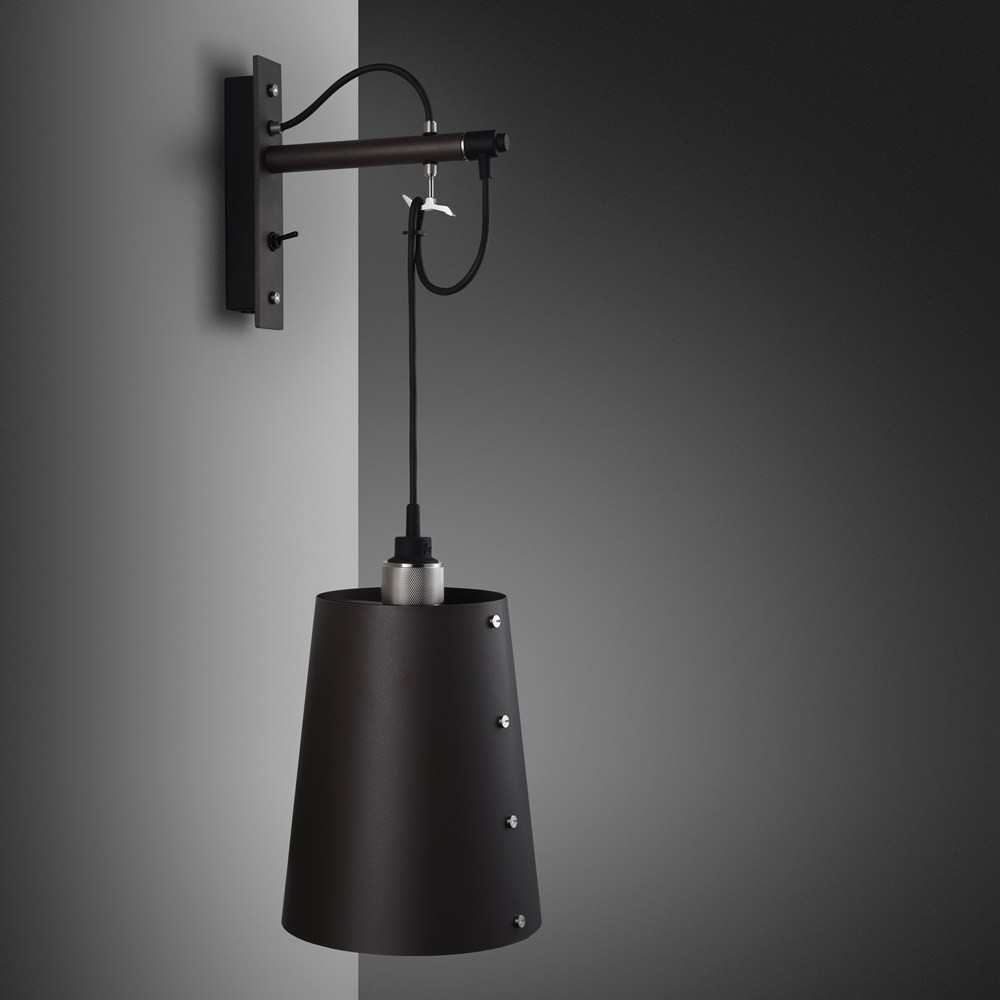 Hooked wall light pendant in solid metal / dark graphite grey and stainless steel