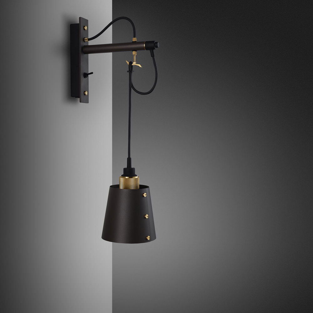 Buster + Punch / Hooked wall light made from solid metal / Graphite and brass / small metal lamp shade