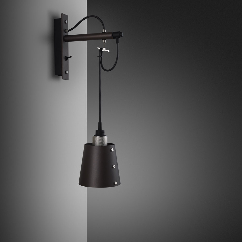 Buster + Punch / Hooked wall light made from solid metal / Graphite and stainless steel / small metal lamp shade