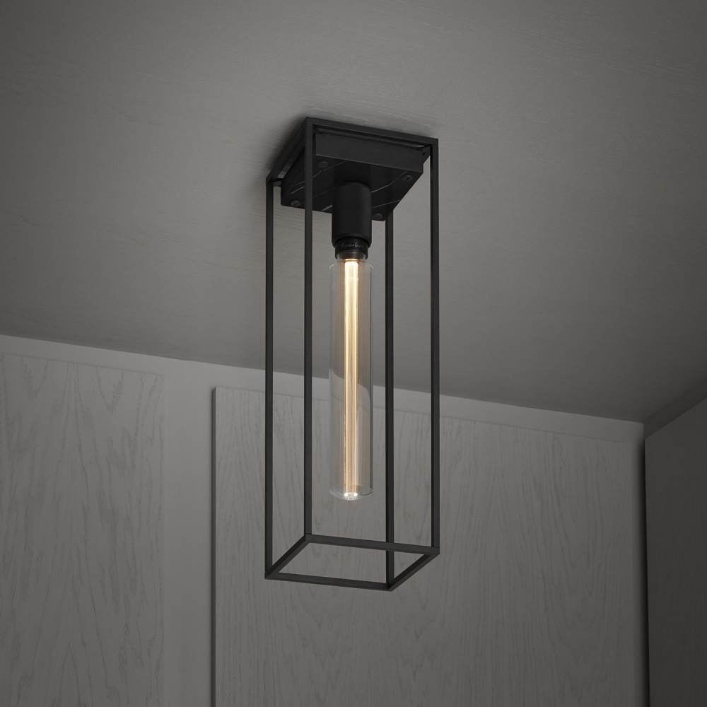 Buster + Punch / Caged surface mounted ceiling light / Satin black marble / LED bulb