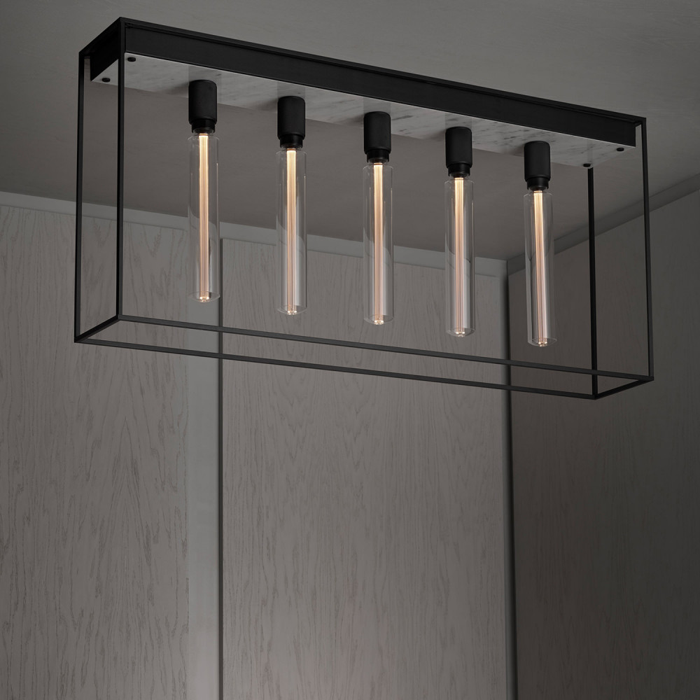 Buster + Punch / Caged surface mounted ceiling light / Polished white marble / LED bulb