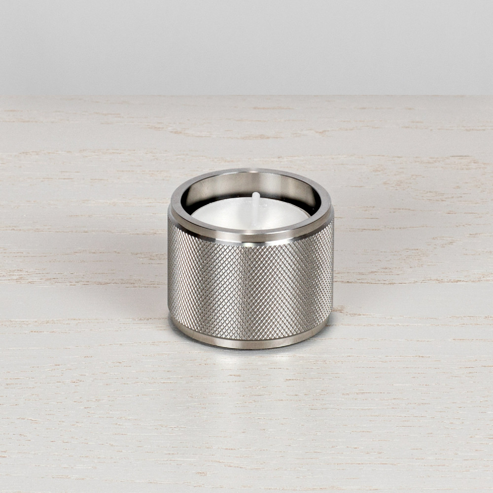 Tea light candle holder / set of 1 / gift / Solid Stainless steel / silver