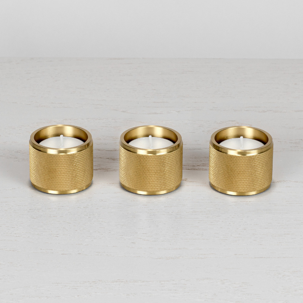 Tea light candle holder / set of 3 / gift / solid brass metal / gold