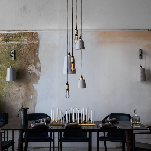 Hooked wall light pendant in solid metal / dark graphite grey and brass