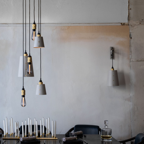 Buster + Punch / Chandelier with six light pendants in solid metal / large and small lamp shades