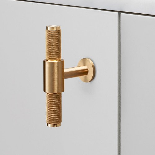 T-bar kitchen handle in solid brass metal / Buster + Punch London