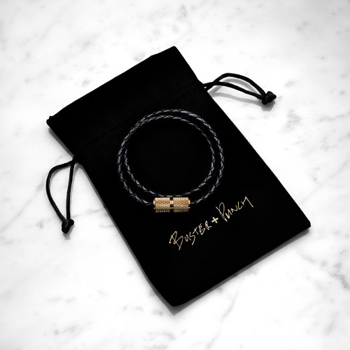Single leather bracelet with knurled solid brass and gift packaging