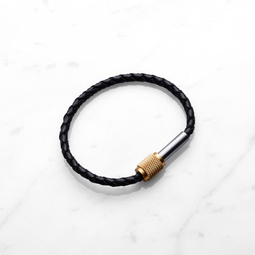 Single leather bracelet with knurled solid brass, stainless steel and gift packaging