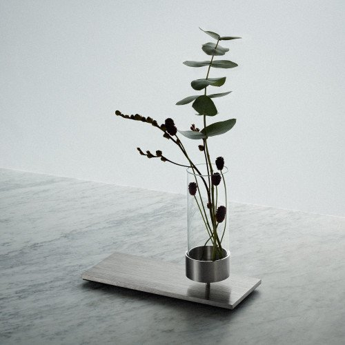Buster + Punch / MACHINED vase in solid metal and hand blown glass / interior accessory