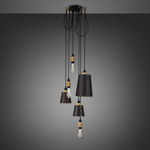 Buster + Punch / Chandelier with six light pendants in solid metal / large and small lamp shades / dark graphite grey and brass