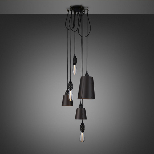 Buster + Punch / Chandelier with six light pendants in solid metal / large and small lamp shades / dark graphite grey and smoked bronze