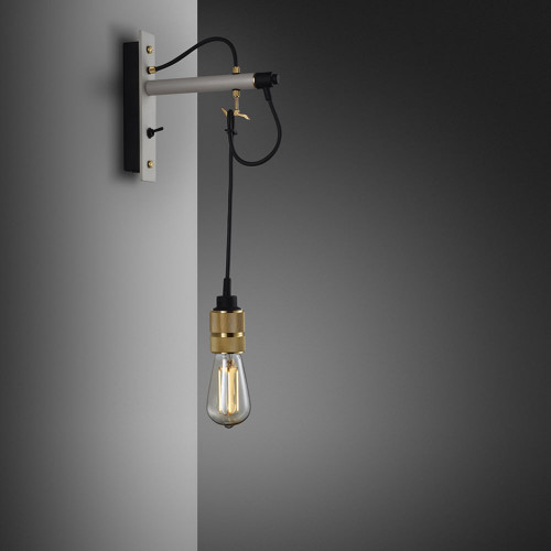 Buster + Punch / Hooked wall light pendant in solid metal / light stone grey and brass / naked bulb