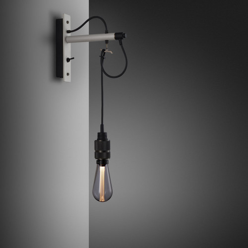 Buster + Punch / Hooked wall light pendant in solid metal / light stone grey and smoked bronze / naked bulb
