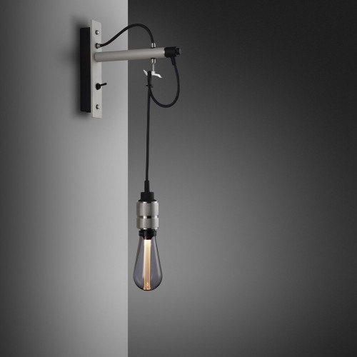 Buster + Punch / Hooked wall light pendant in solid metal / light stone grey and steel / naked bulb