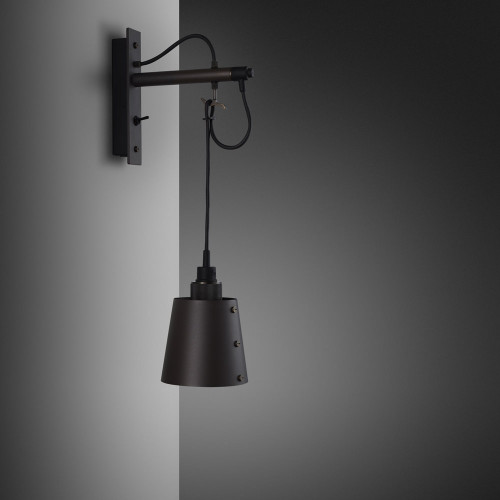 Buster + Punch / Hooked wall light made from solid metal / Graphite and Smoked Bronze / Small metal lamp shade