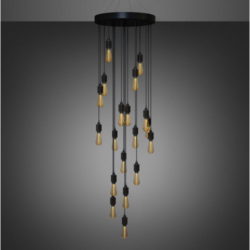 Buster + Punch / Heavy Metal Chandelier / Cascade arrangement / LED Buster Bulb / Bespoke ceiling light pendant in Steel, Brass, Smoked Bronze or Black