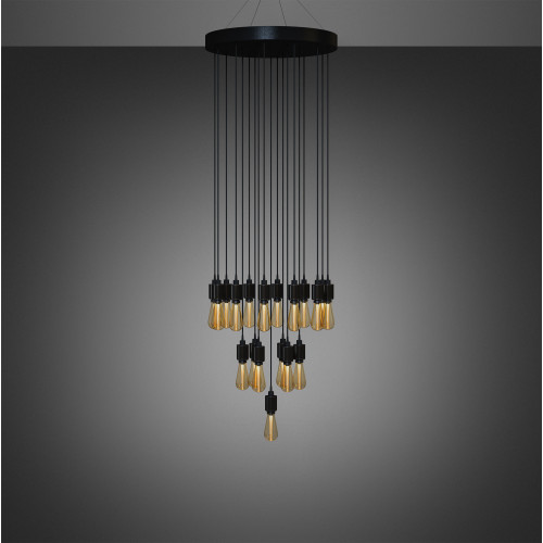 Buster + Punch / Heavy Metal Chandelier / Classic arrangement / LED Buster Bulb / Bespoke ceiling light pendant in Steel, Brass, Smoked Bronze or Black