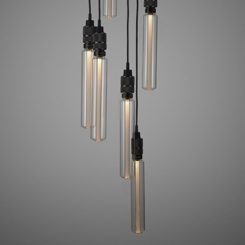 Buster + Punch / Chandelier with six light pendants in solid metal / large and small lamp shades / cross knurled smoked bronze