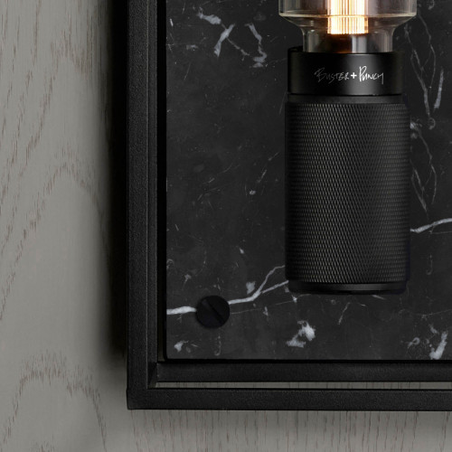 Caged wall light / Satin black marble / Buster + Punch