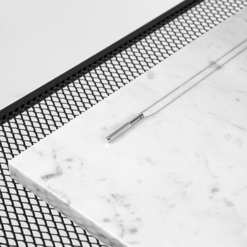 Buster + Punch / Vertical Necklace / Solid steel with knurled detailing