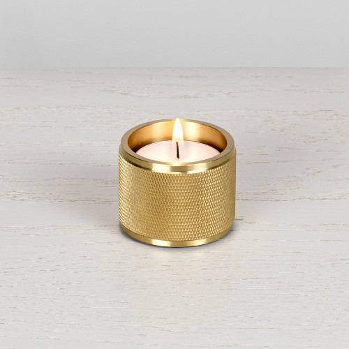 Tea light candle holder / set of 1 / gift / Solid brass metal / gold