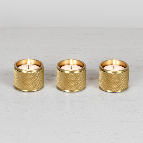 Tea light candle holder / set of 3 / gift / solid brass metal / gold