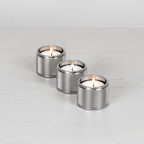 Tea light candle holder / Set of 3 / gift / Solid stainless steel / silver