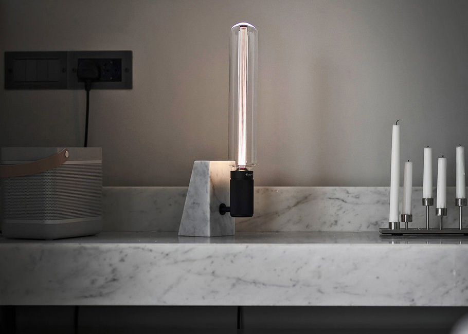 polished white marble STONED table light