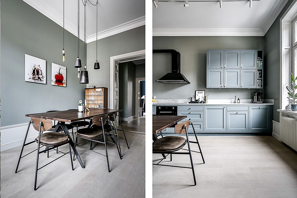 Green grey kitchen, Buster + Punch
