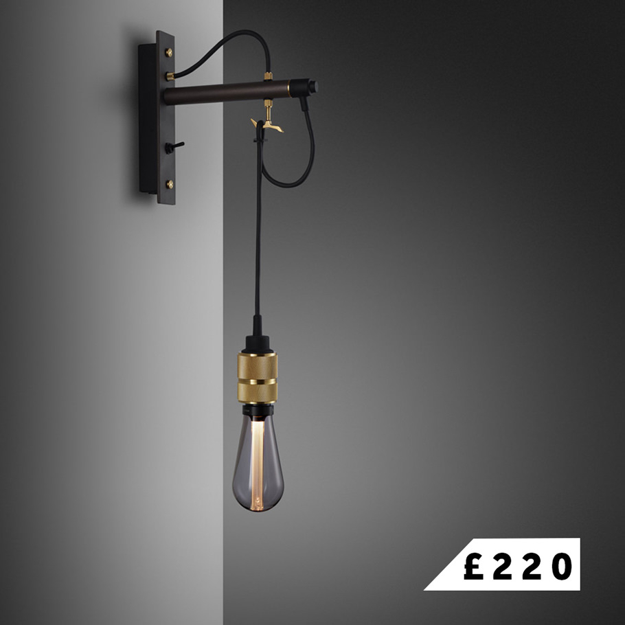 HOOKED wall / graphite & brass wall light with BUSTER BULB / smoked LED light bulb