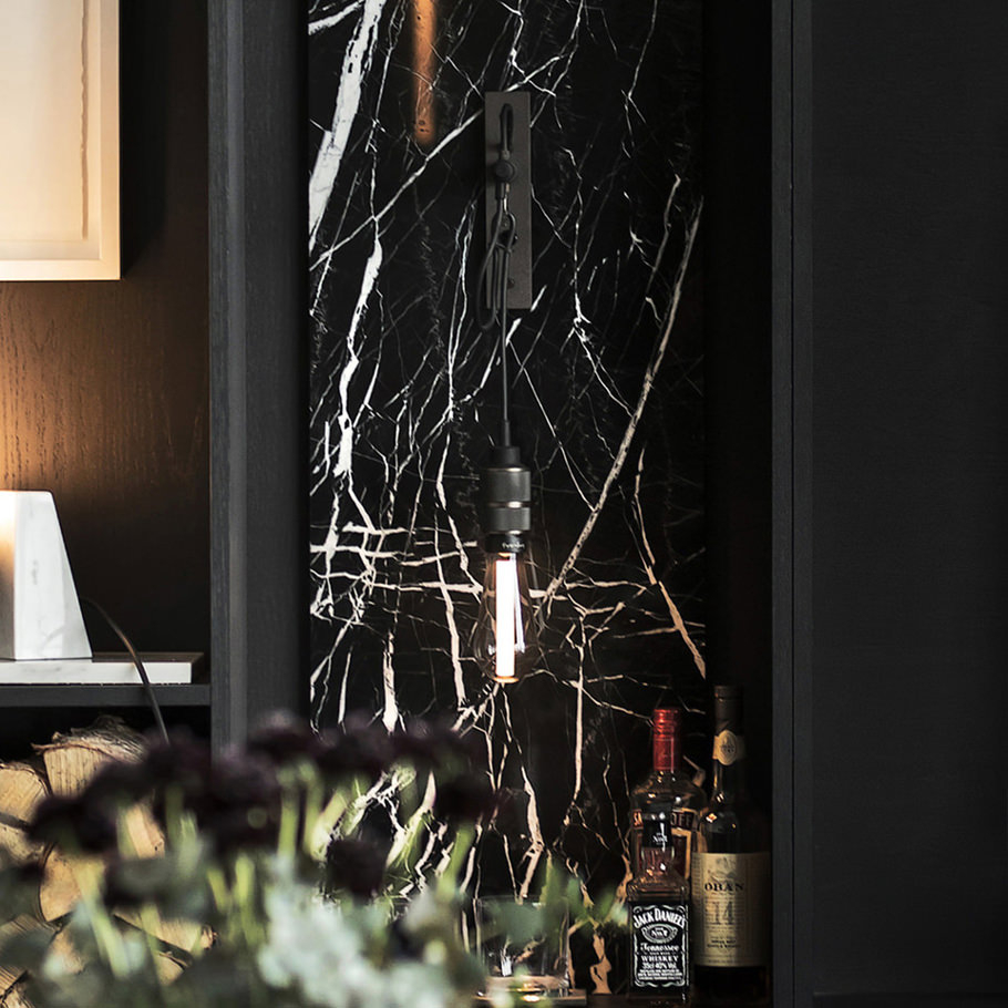 HOOKED wall / graphite & smoked bronze wall light with BUSTER BULB crystal LED light bulb