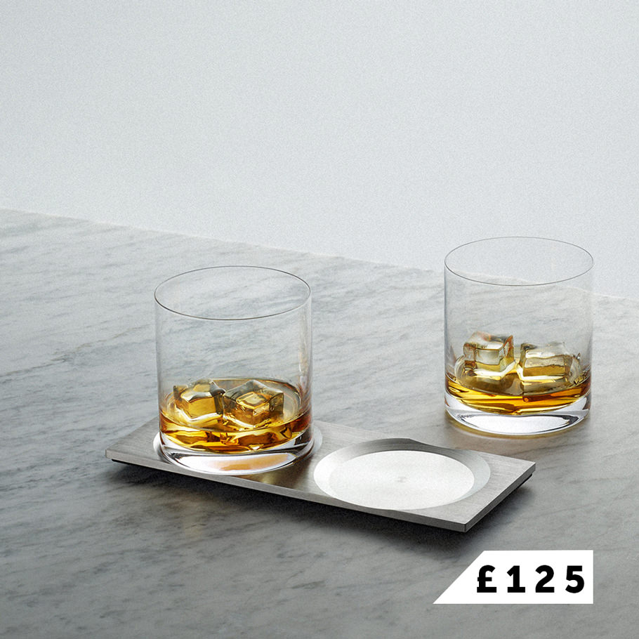 MACHINED / whisky tray in steel with hand blown glasses