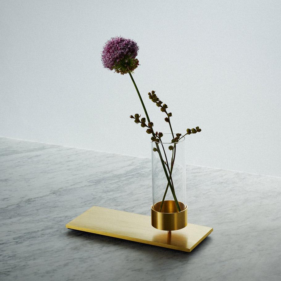 MACHINED flower vase in BRASS