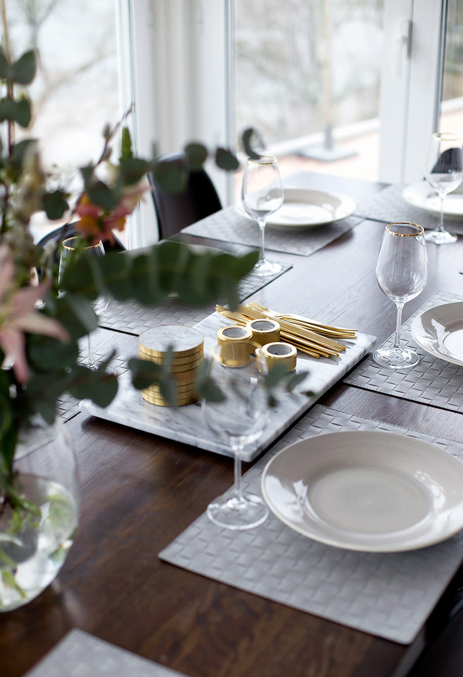 STACKED candle holders in BRASS table setting